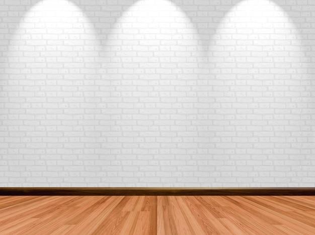 Pusty pokoju tło z drewnianą podłogową ściana z cegieł i światło reflektorów.