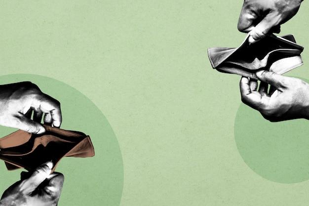 Pusty portfel z powodu wpływu ekonomicznego koronawirusa na ilustrację tła