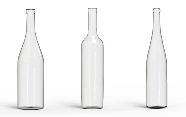 Pusty przezroczysty kieliszek do wina butelka ze ścieżką przycinającą na białym tle.