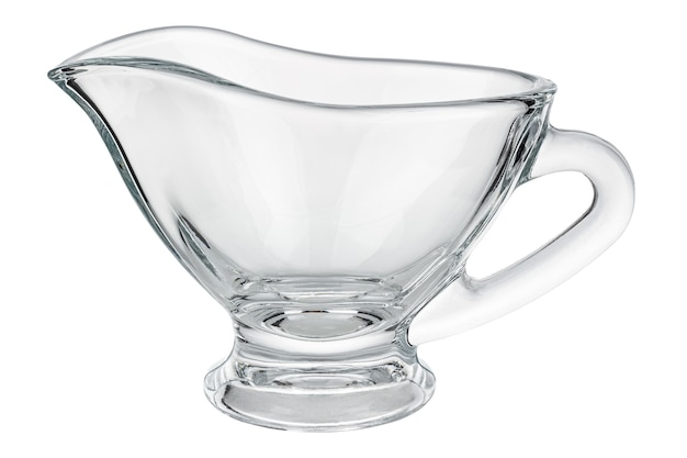 Pusty przezroczysty szklany sos łódź na białym tle