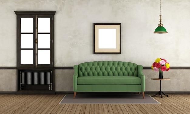 Pusty retro pokój z zieloną kanapą i okno