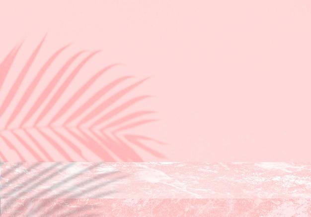 Pusty różowy marmurowy stół z cieniem różowym tłem produktu w tle