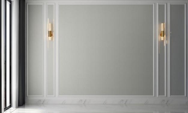 Pusty salon w stylu skandynawskim z sofą i stolikiem do herbaty. minimalistyczny projekt salonu i puste białe tło ściany