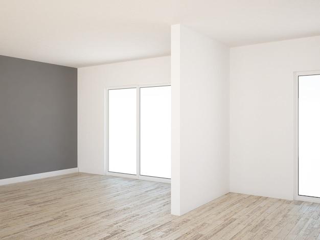 Pusty salon z drewnianą podłogą i szarą ścianą