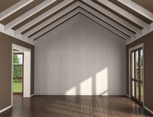 Pusty salon z drewnianą ścianą, dużymi oknami i belkami dachowymi