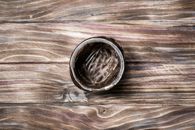 Pusty słoik pod pastą czekoladową, widok z góry