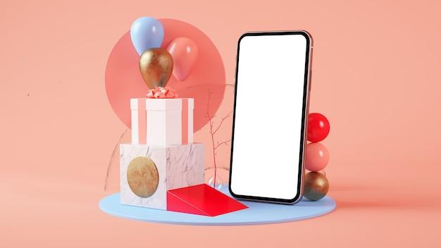 Pusty smartfon na surrealistycznej platformie renderowania 3d