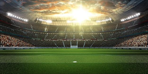 Pusty stadion piłkarski z fanami w wieczornym świetle