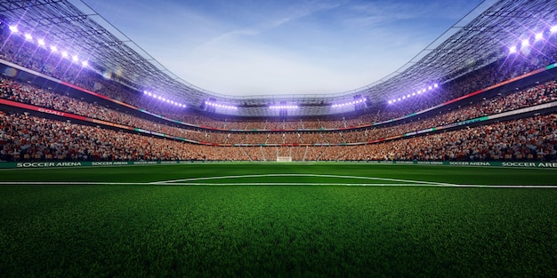 Pusty stadion piłkarski z fanami