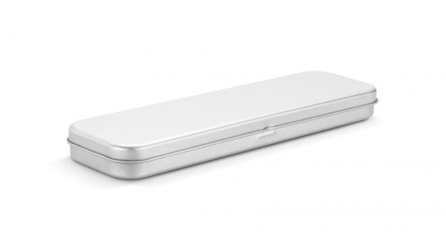 Pusty stanless pudełko dla ołówka lub materiały odizolowywających na białym tle