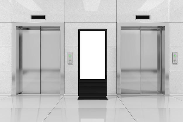 Pusty stojak na ekran lcd targów jako szablon do projektowania w pobliżu nowoczesnej windy lub windy z metalowymi drzwiami w ekstremalnym zbliżeniu budynku biurowego. renderowanie 3d