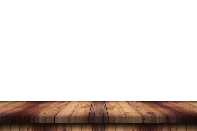 Pusty stół z drewna na izolowanym białym tle i montaż wyświetlacza z miejscem na kopię produktu.