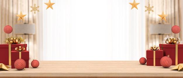 Pusty stół z drewna ozdobiony pudełkami na prezenty i świątecznymi ozdobami w niewyraźnym salonie.