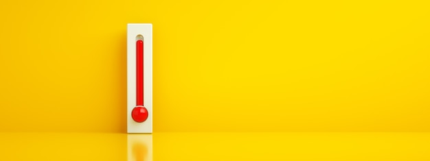 Pusty szablon termometru celsjusza i fahrenheita na żółtym tle z wysoką temperaturą, koncepcja gorącego lata, renderowanie 3d, obraz panoramiczny