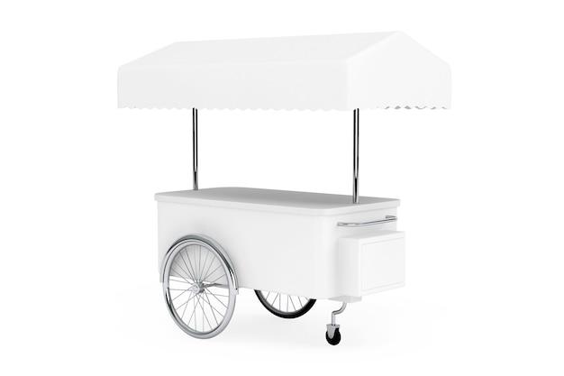 Pusty wózek promocyjny i baldachim na białym tle