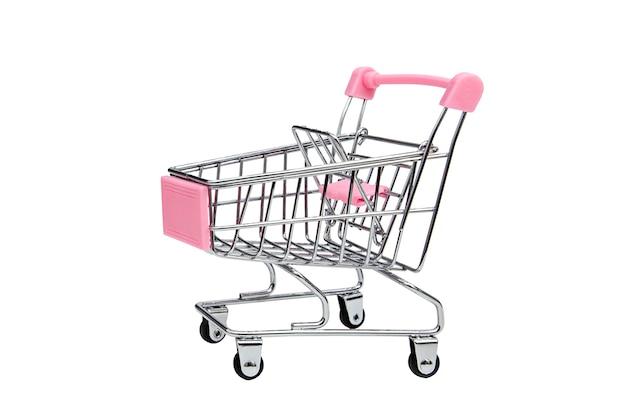Pusty Wózek W Supermarkecie Izolat Premium Zdjęcia