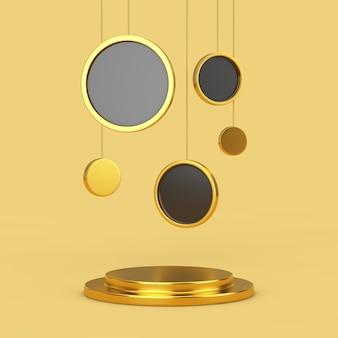 Pusty złoty cokół z wiszącymi abstrakcyjnymi kołami na żółtym tle. renderowanie 3d