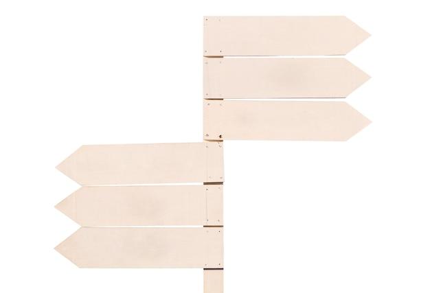 Pusty znak drewna na białym tle.