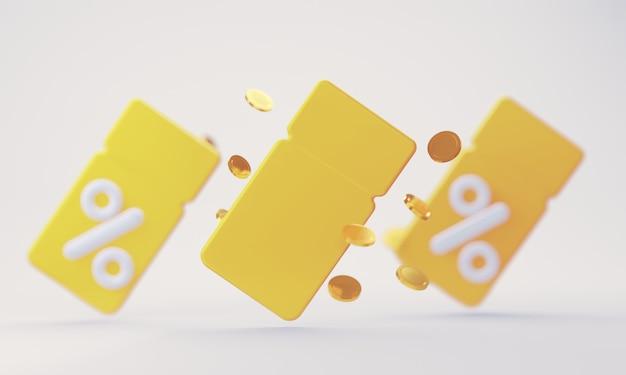 Pusty żółty kupon 3d z odsetkami od różnych rabatów i sprzedaży towarów