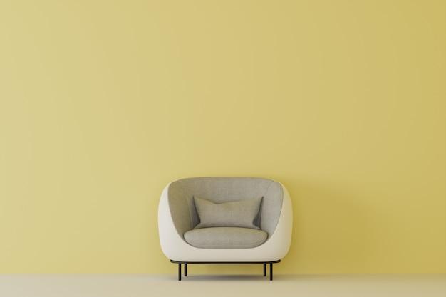 Pusty żółty pokój z białą kanapą. renderowanie 3d.