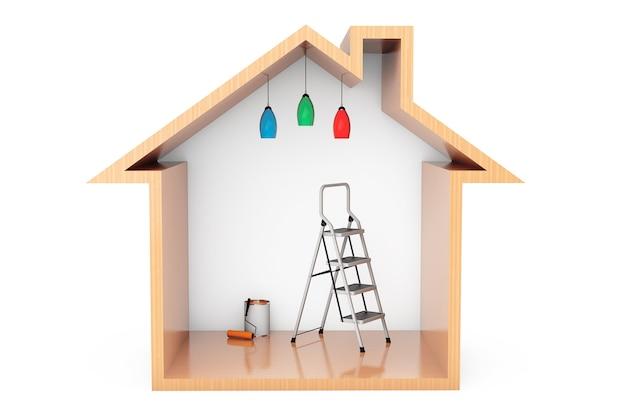 Puszka farby z pędzlem wałkowym i drabiną w zarysie drewnianego domu na białym tle