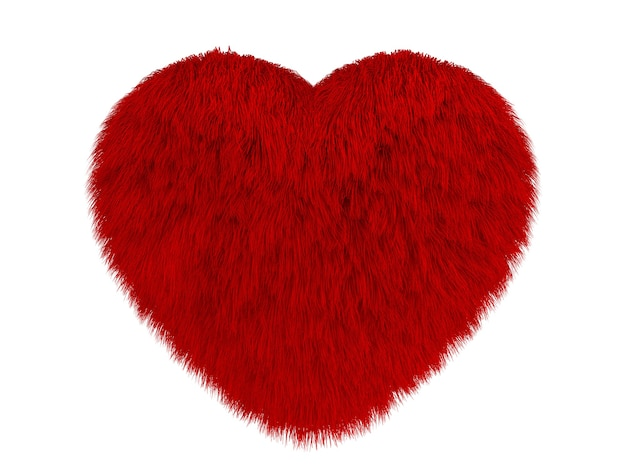Puszyste czerwone serce na białym tle