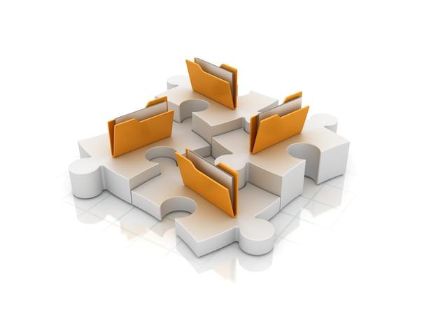 Puzzle 3d z folderami komputerowymi