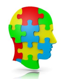 Puzzle głowy, elementy pasują do siebie