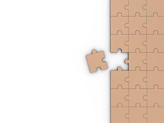 Puzzle kolorowe na białym tle. ilustracja 3d