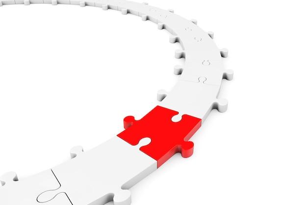 Puzzle układanka z czerwonym kawałkiem na białym tle