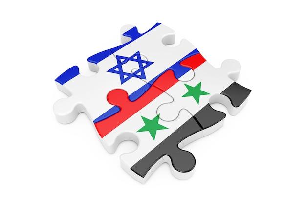 Puzzle współpracy izraela i syrii jako flagi na białym tle. renderowanie 3d