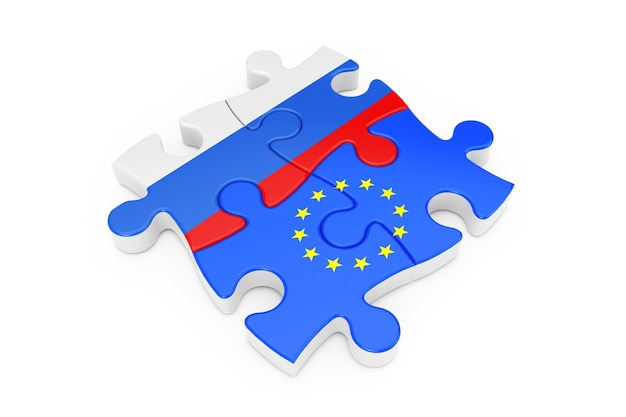 Puzzle współpracy unii europejskiej i rosji jako flagi na białym tle. renderowanie 3d