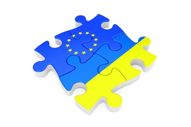 Puzzle współpracy unii europejskiej i ukrainy jako flagi na białym tle. renderowanie 3d