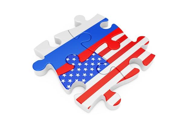 Puzzle współpracy usa i rosji jako flagi na białym tle. renderowanie 3d