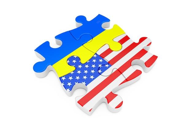 Puzzle współpracy usa i ukrainy jako flagi na białym tle. renderowanie 3d
