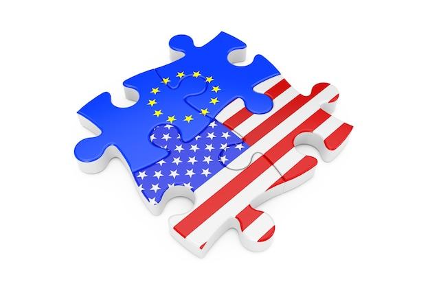 Puzzle współpracy usa i unii europejskiej jako flagi na białym tle. renderowanie 3d