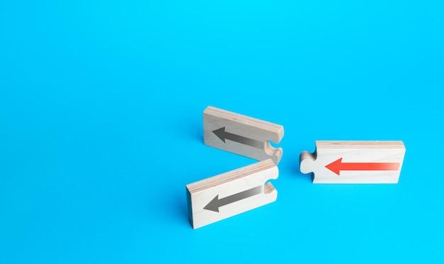 Puzzle ze strzałkami z alternatywnymi ścieżkami. wybór dalszej alternatywy ścieżki