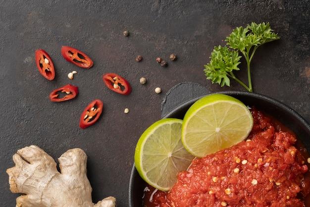 Pyszna aranżacja dań sambal