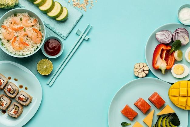 Pyszna dieta flexitarian układ widok z góry