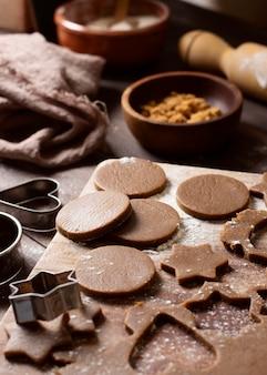 Pyszne ciasteczka zimowe deser wysoki widok