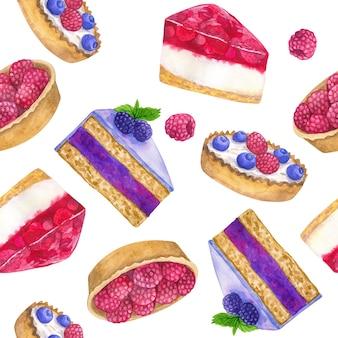 Pyszne desery. wzór. ręcznie rysowane akwarela ilustracja. tekstura do druku, tkaniny, tkaniny, tapety.