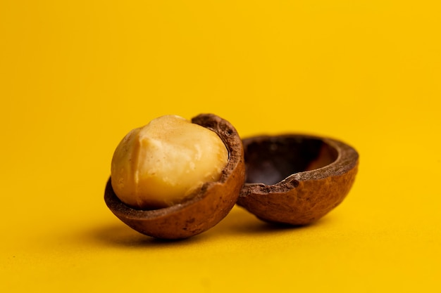 Pyszne i wysokokaloryczne orzechy makadamia na żółtym tle.