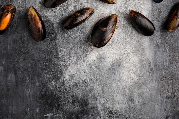 Pyszne małże owoce morza kopia przestrzeń