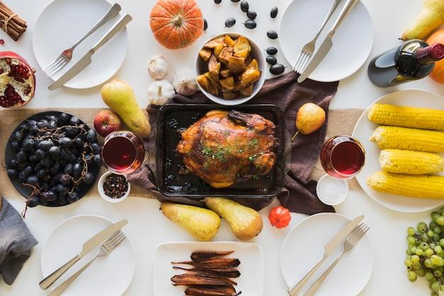Pyszny posiłek dziękczynienia widok z góry