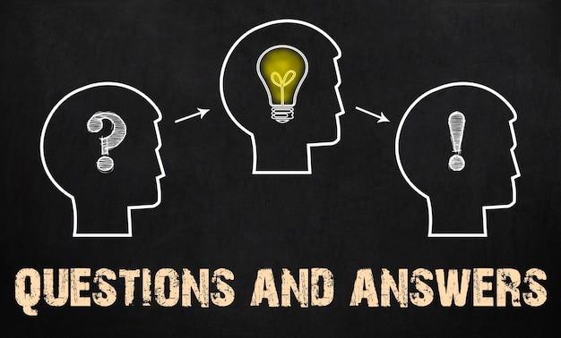 Pytania i odpowiedzi - grupa trzech osób ze znakiem zapytania, kołami zębatymi i żarówką na tle tablicy.