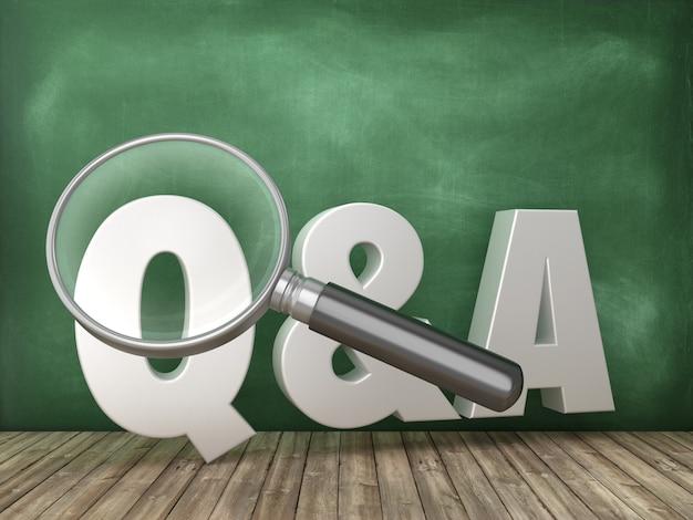 Pytania i odpowiedzi słowo 3d z lupą na tablicy szkolnej