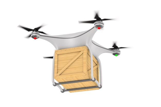 Quadrocopter z pudełkiem ładunkowym na białym tle. izolowana ilustracja 3d