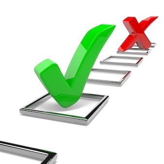 Quiz, znaki zatwierdzone i odrzucone