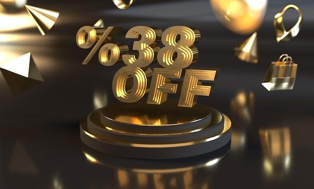 Rabat off sale banner ze złotym stylem