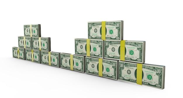 Rachunki dolarowe ułożone tworzące zamknięte ściany na białym tle renderowania 3d